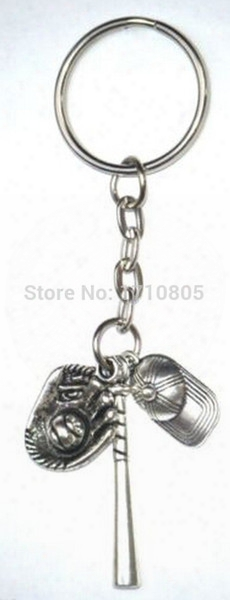 50pcs New Fashion Jewelry Vintage Silver Baseball Cap Glove&ball Charm Fit Key Chain Ring Keyring Chains Accessories Free A597