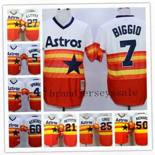 7 Craig Biggio 5 Jeff Bagwell 25 Jose Cruz 21 Pettitte Richard 50th Anniversary Patch Jerseys Houston Astros Cool Base Baseball Jersey