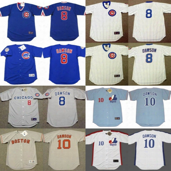 #8 Andre Dawson Cooperstown Throwback Jerseys Chicago Cubs 1987 1989 1990 Boston Red Sox 1993 Montreal Expos 1978 Andre Dawson Jersey #10