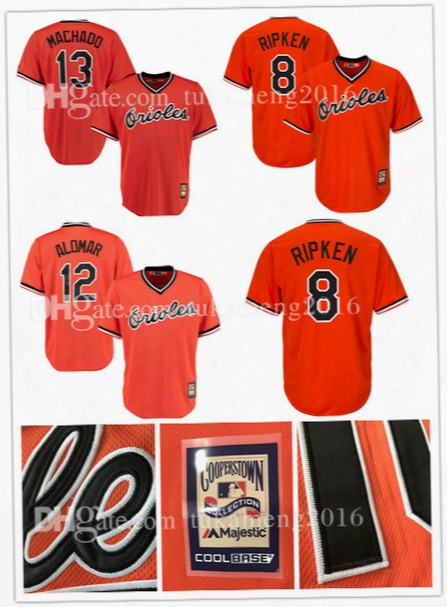 8 Cal Ripken Jr. Baseball Jerseys Baltimore Orioles Throwback Embroidery Manny Machado Majestic Adam Jones Roberto Alomar Orange Mlb Jersey