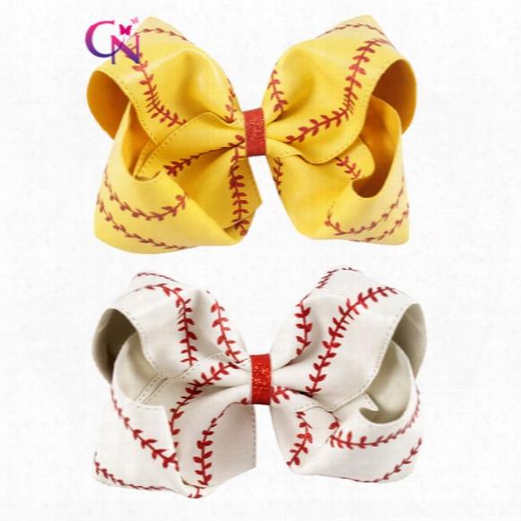 8 Inch Baseball Hair Bow Softball Hair Bow White Baseball Cheer Bow For Cheerleader Girls School