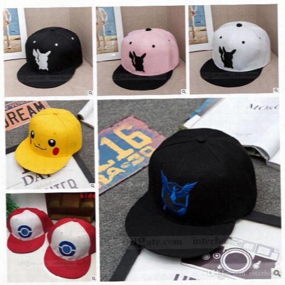 Adult Poke Go Baseball Caps Kids Fashion Poke Hats Casual Pikachu Caps Poke Ball Snapbacks Hats Pocket Monster Hats Hip Hop Caps B728