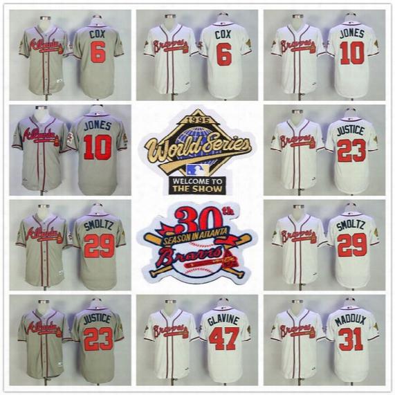 Atlanta Braves 1995 World Series Jersey 30th Bobby Cox Chipper Jones 23 David Judge 29 John Smoltz Greg Maddux Tom Glavine Gray White