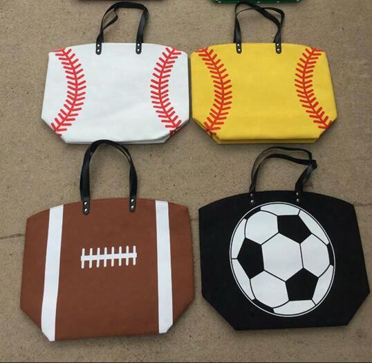Bags Baseball Tote Handbag Stitching Women Softball Baseball Women Cotton Canvas Sports Shoulder Lady Baseball Softball Bag 15 Styles