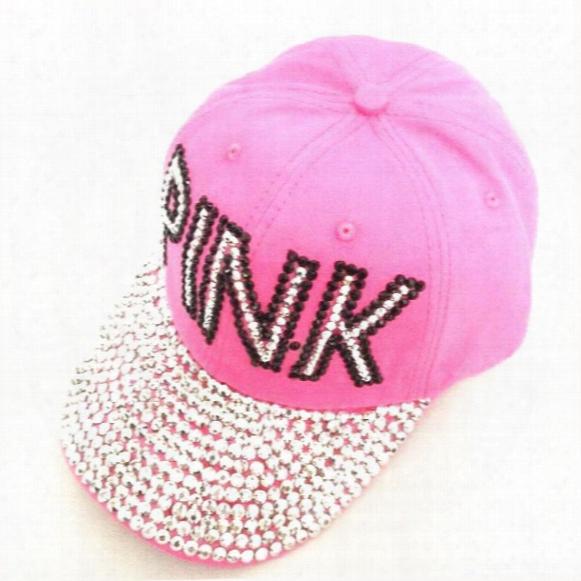 Baseball Cap Women Pink Rhinestone Caps Swag Diamond Point Pink Letters Denim Casual Snapback Hats Girls Hat Rhinestone Print