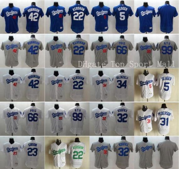 Baseball Los Angeles Dodgers Jerseys Elite 42 Jackie Robinson 22 Clayton Kershaw 5 Corey Seager 34 Fernando Valenzuela 32 Sandy Koufax Puig