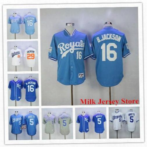 Bo Jackson Jersey 5 George Brett Kansas City Royals Throwback Baseball Jerseys White Kc Blue Grey