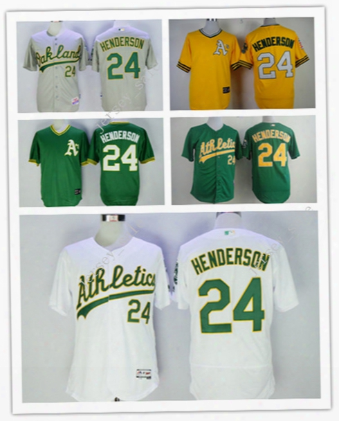 Cheap Hot Sale Youth Men Mlb Baseball Jersey Oakland Athletics #24 Rickey Henderson Green Grey White Yellow Pull Down Top Quality For Sale
