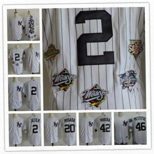 Cheap Men New York Yankees White 2 Derek Jeter 46 Andy Pettitte Jorge Posada Mariano Rivera Sewn Ob World 5x Series Champions Jerseys