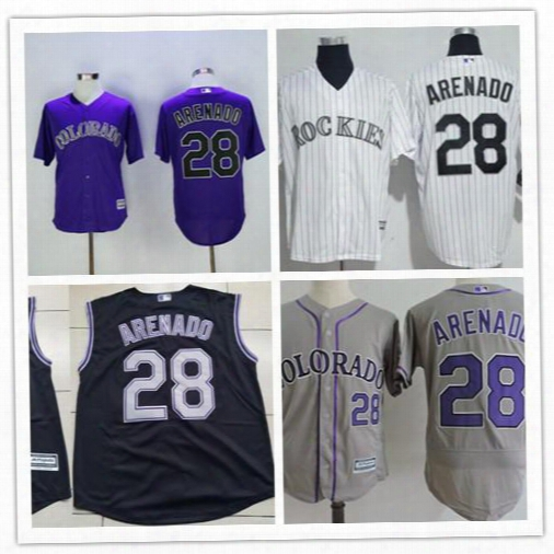Cheap Men's Colorado Rockies #28 Nolan Arenado Name Number Embroidery Purple Stitched Mlb Majestic Cool Base Jersey Top Quality