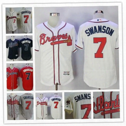 Cheap Mens Atlanta Braves #7 Dansby Swanson 11 Ender Inciarte 4 Brandon Phillips Gray Cream Stitched 2017 Patch Navy Blue Red White Jerseys