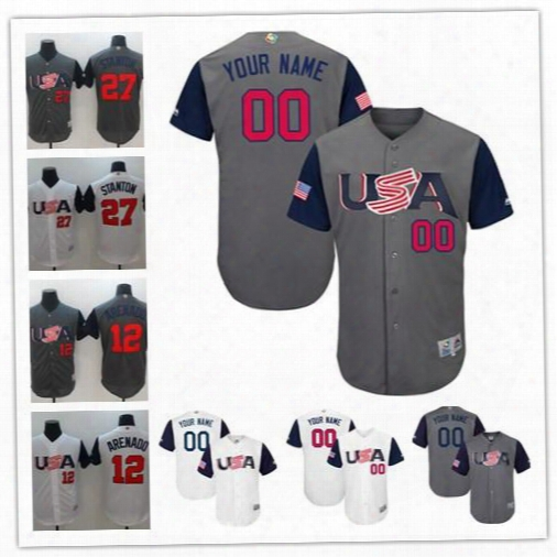 Cheap Mens Custom Stitched Wbc Team Usa #12 Nolan Arenado 27 Giancarlo Stanton Gray 2017 World Baseball Classic White Personalized Jerseys S