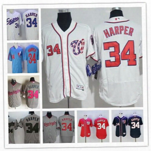 Cheap Mens Washington Nationals Montreal Expos #34 Bryce Harper Gray Navy Blue Red White 2017 Cool Flex Base Pink Stitched Memorial Jerseys