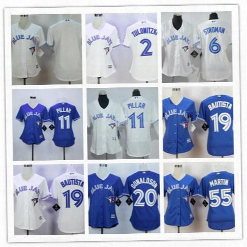 Cheap Womens Toronto Blue Jays 19 Jose Bautista 20 Josh Donaldson 11 Kevin Pillar 55 Russell Martin 2 Tulowitzki White Blue Stitched Jerseys
