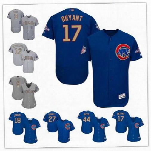 Chicago Cubs 17 Bryant 44 Rizzo 9 Baez 12 Schwarber 3 Ross 49 Arrieta 18 Zobrist 27 Russell 2017 Gold Program Champions Baseball Jersey