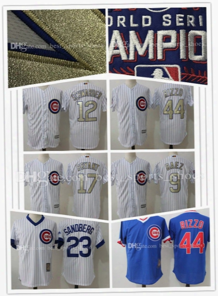 Chicago Cubs Baseball Jerseys Kyle Schwarber 12 Javier Baez 9 Majestic White 2017 Gold Program Cool Base Player Stitched Jersey