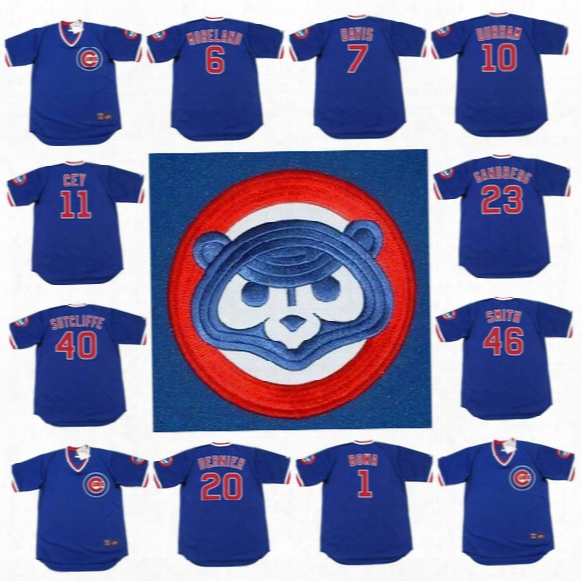 Chicago Cubs Ryne Sandberg Keith Moreland 7 Jody Davis Leon Durham 11 Ron Cey Bob Dernier 46 Lee Smith 1984 Throwback Baseball Jerseys