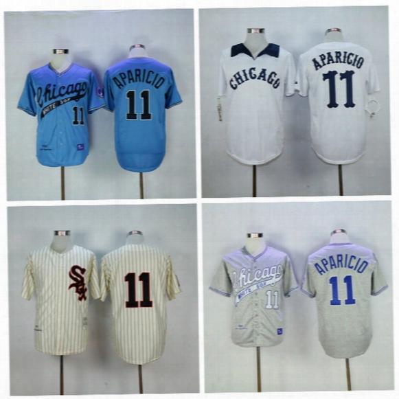 Chicago White Sox Baseball Jerseys Cheap 11 Luis Aparicio Jersey 1969 Cooperstown Cream Pinstripe Pullover Throwback Grey White Beige