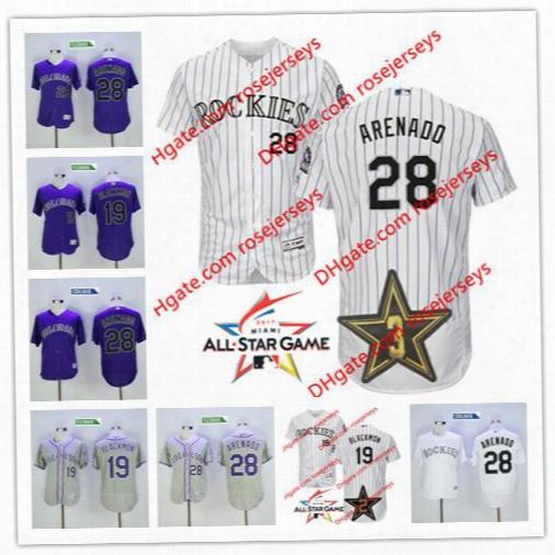 Colorado Rockies 2017 All-star Game Worn Jersey 19 Charlie Blackmon 28 Nolan Arenado Gray Road White Purple Stitched Baseball Mens Jerseys