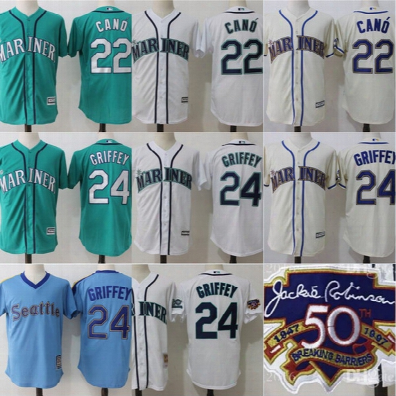 Cool Base Seattle Mariners Jerseys Mens 22 Robinson Cano 24 Ken Griffey Jr. 50 Anniversary Mlb Stitched Beige Baseball Jerseys Cheap