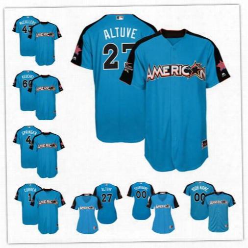 Custom 2017 All Star Houston  Astros #27 Jose Altuve Blue Baseball With Team Patch Jerseys S-4xl 1 Correa 60 Keuchel Mccullers Jr. Devenski