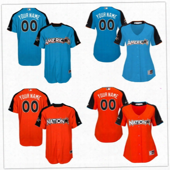 Custom 2017 Baseball All Star Home Run Derby Jerseys Mens Womens Kids Blue Orange Personalized Stitched Any Number Number Team Patch S,4xl