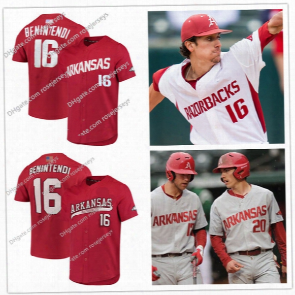 Custom Arkansas Razorbacks College Baseball Red White Gray 16 Andrew Benintendi 29 Keuchel 11 Forsythe Stitched Any Name Number Jersey S-4xl