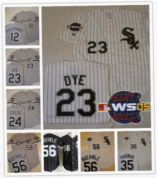 Custom Chicago White Sox 2005 World Series Jerseys White Gray 56 Mark Buehrle 12 Pierzynski 23 Jermaine Dye 14 Paul Konerko Frank Thomas