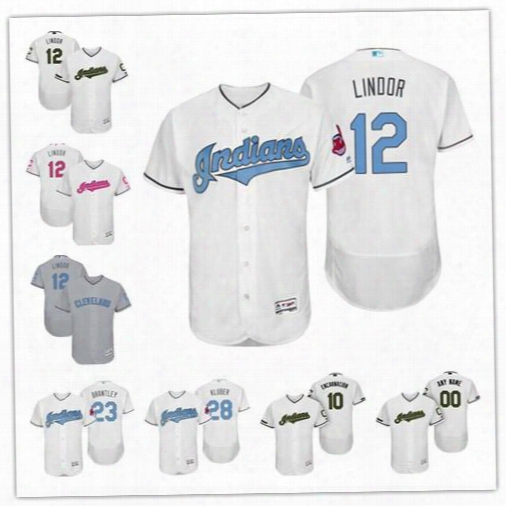Custom Cleveland Indians 12 Francisco Lindor White Gray 2017 Father Mother Memorial Day Sewn On Any Name Number Mens Flex Base Jerseys S-4xl