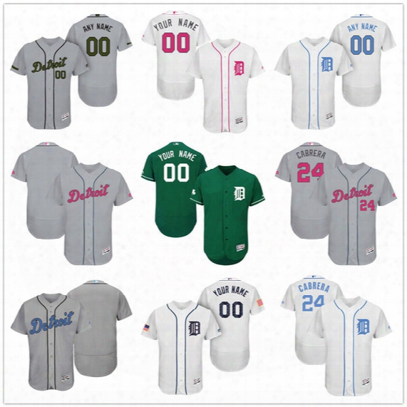Custom Detroit Tigers Mother Father Memorial Independence Day #24 Cabrera Upton Kinsler Gray White Pink Green Stitched Men Women Kid Jerseys