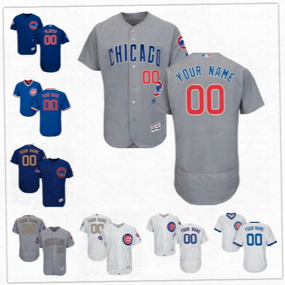 Custom Flex Base Chicago Cubs Baez Bryant Rizzo Heyward Maddon Gray White Blue 2017 Gold Stitched Any Name Number Mens Jerseys S,4xl