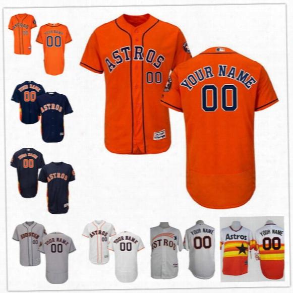 Custom Flex Base Houston Astros 1 Correa Bregman 4 Springer Altuve Keuchel Gray White Blue Orange Stitched Any Name Number Mens Jersey S-4xl