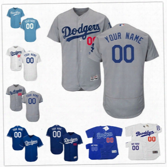 Custom Flex Base Los Angeles Dodgers Kershaw 5 Seager Bellinger Robinson White Pedantic  Gray Vintage Stitched Any Name Number Mens Jerseys S-4xl