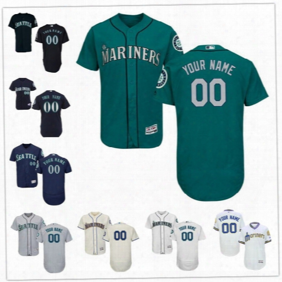 Custom Flex Base Seattle Mariners Seager Cruz Cano Hernandez Griffey Gray Green White Cream Blue Stitched Any Name Number Mens Jerseys S-4xl