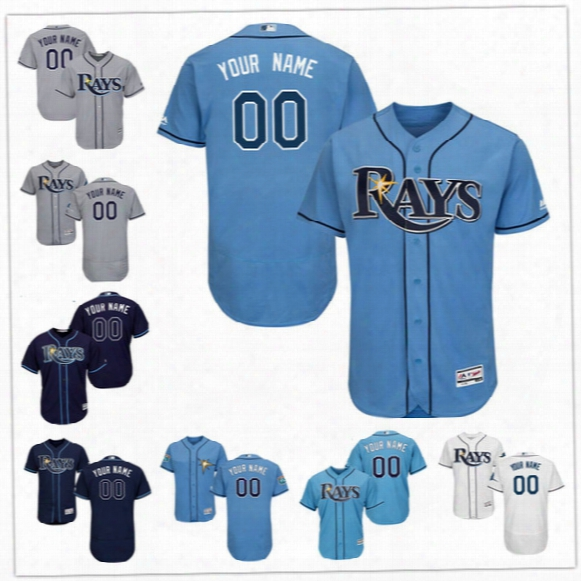 Custom Flex Base Tampa Bay Rays Longoria 10 Dickerson Kiermaier Archer Romo Gray White Blue Navy Stitched Any Name Number Mens Jerseys S-4xl