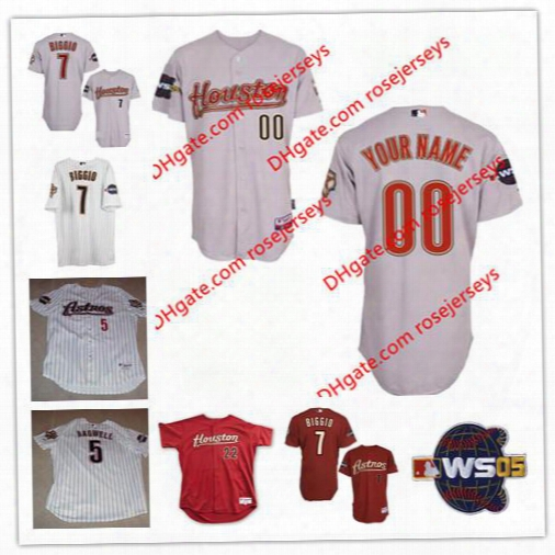 Custom Houston Astros 2005 World Series Jerseys Red White Gray 5 Jeff Bagwell 7 Craig Biggio Roger Clemens Pettitte 44 Roy Oswalt 17 Berkman