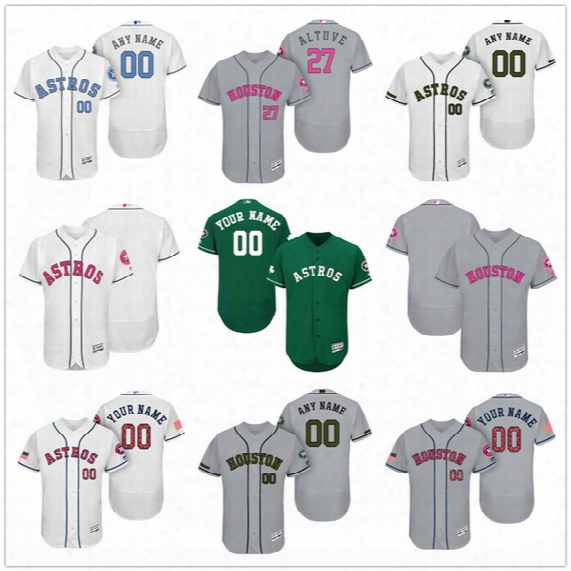 Custom Houston Astros Mother Father Memorial Independence Day #27 Altuve Correa Springer Gray White Pink Blue Stitched Men Women Kid Jerseys