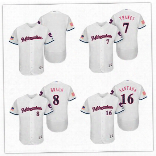 Custom Independence Day Milwaukee Brewers #8 Ryan Braun Mens Womens Youth Flex Cool Base 2017 Stars & Stripes Embroidered Baseball Jerseys