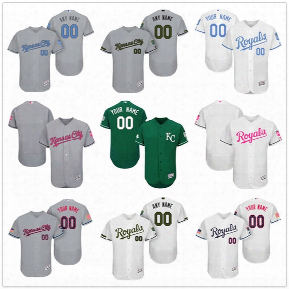 Custom Kansas City Royals Mother Father Memorial Independence Day #13 Perez Hosmer Cain Gray White Pink Green Stitched Men Women Kid Jerseys