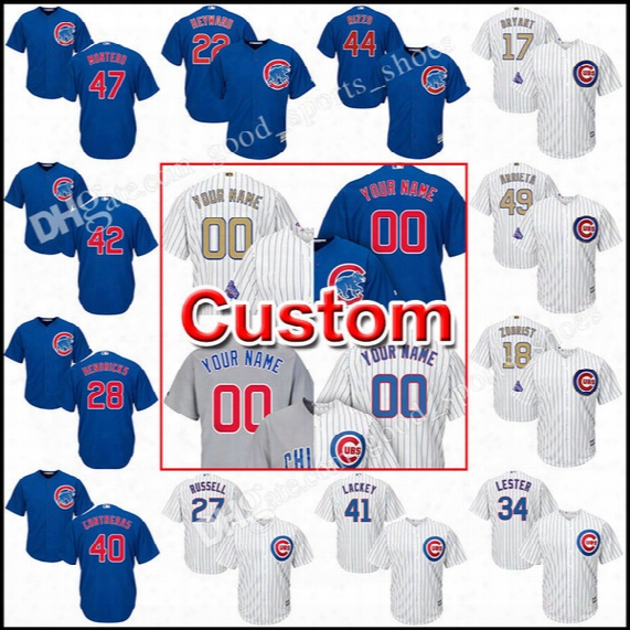 Custom Men's Chicago Cubs Jerseys 17 Kris Bryant 44 Anthony Rzzo Lackey Robinson Montero Arrieta Soler Maddon Cool Base Baseball Jersey