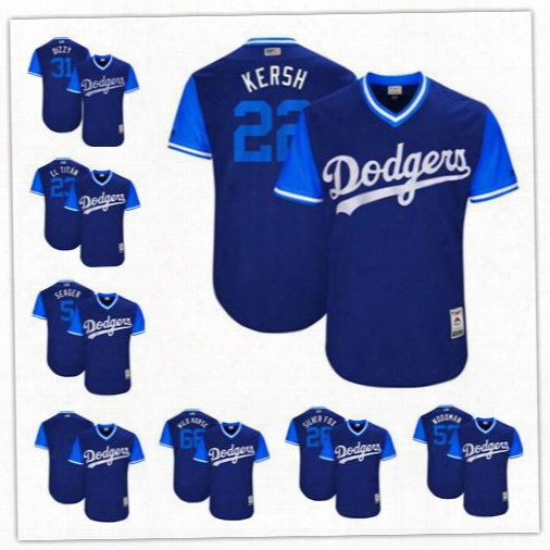Custom Men's Los Angeles Dodgers 2017 Mean League World Series Players Weekend Authentic Team Jersey 22 Clayton Kershaw 5 Corey Seager 31