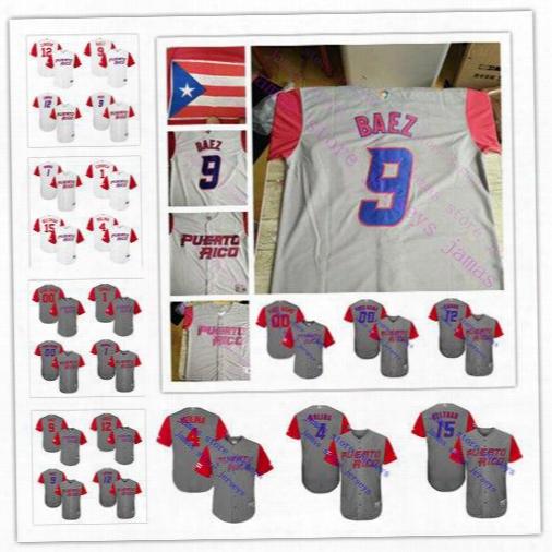 Custom Men's Puerto Rico Carlos Correa Javier Baez Francisco Lindor Yadier Molina Carlos Beltran Baseball 2017 Wbc Jersey Size S-6xl