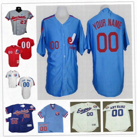 Custom Montreal Expos Mens Womens Youth White Pinstripe Royal Blue 1982 Cooperstown Throwback Personalized Stitched Baseball Jerseys S-4xl