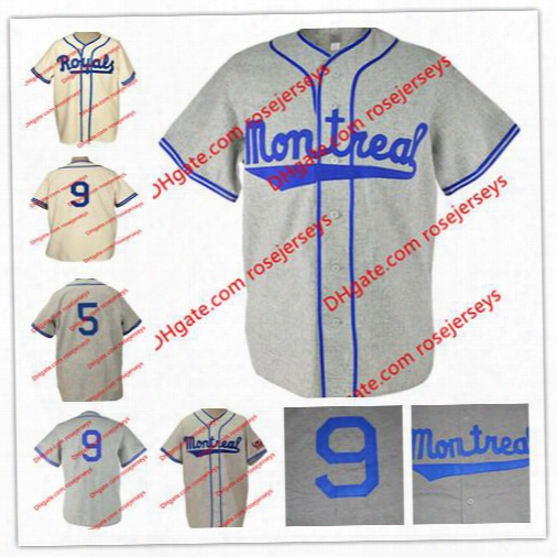 Custom Montreal Royals Road Flannels Jerseys #9 Jackie Robinson 1946 Gray #5 Roberto Clemente 1954 Cream Home Team Baseball Jerseys S,4xl