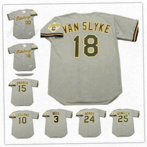 Custom Pittsburgh Pirates 1992 Road Gray Throwback 18 Andy Van Slyke Jay Bell 10 Jim Leyland 24 Barry Bonds 25 Bonilla Stitched Jerseys