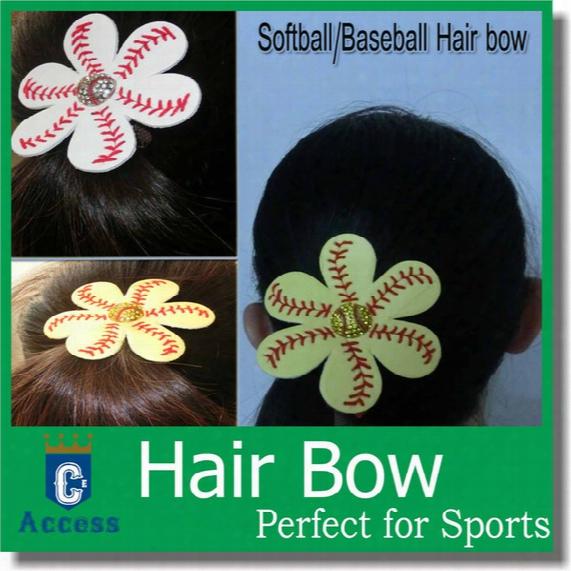 Custom Real Yellow Softball/baseball/soccer/football Personalized Hairbows
