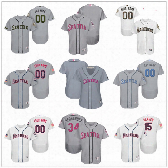 Custom Seattle Mariners Mother Father Memorial Independence Day #22 Cano Seager Cruz Gray White Pink Camo Stitched Mens Womens Kids Jerseys