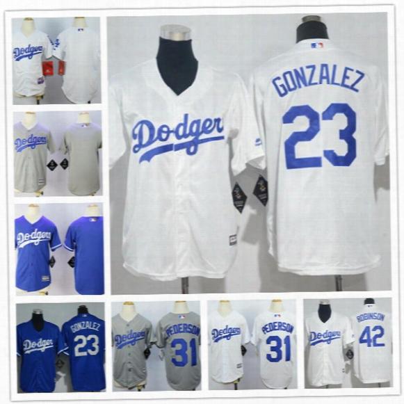 Custom Youth Los Angeles Dodgers Kids Jersey #7 Julio Urias 10 Justin Turner 31 Joc Pederson Puig Jansen Gonzalez Stitched Gray Blue White