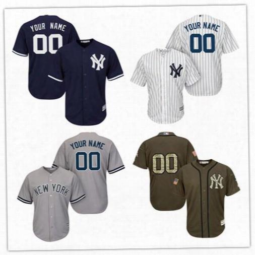 Customized 2017 Mlb New York Yankees Men's Jerseys Baseball Any Name Any Number White Pinstripe Grey Camo Flexbase Coolbase Shirt Custom