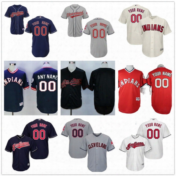 Customized Cleveland Indians Men Womens Youth Kid Gray Road White Navy Blue Pullover Personalized Sewn On Your Own Name Number Jerseys S,4xl